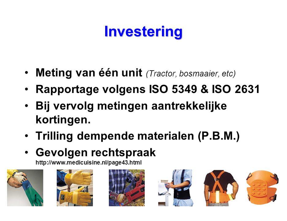 Investering Meting van één unit (Tractor, bosmaaier, etc)