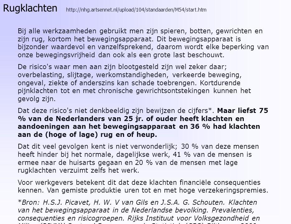 Rugklachten http://nhg. artsennet. nl/upload/104/standaarden/M54/start