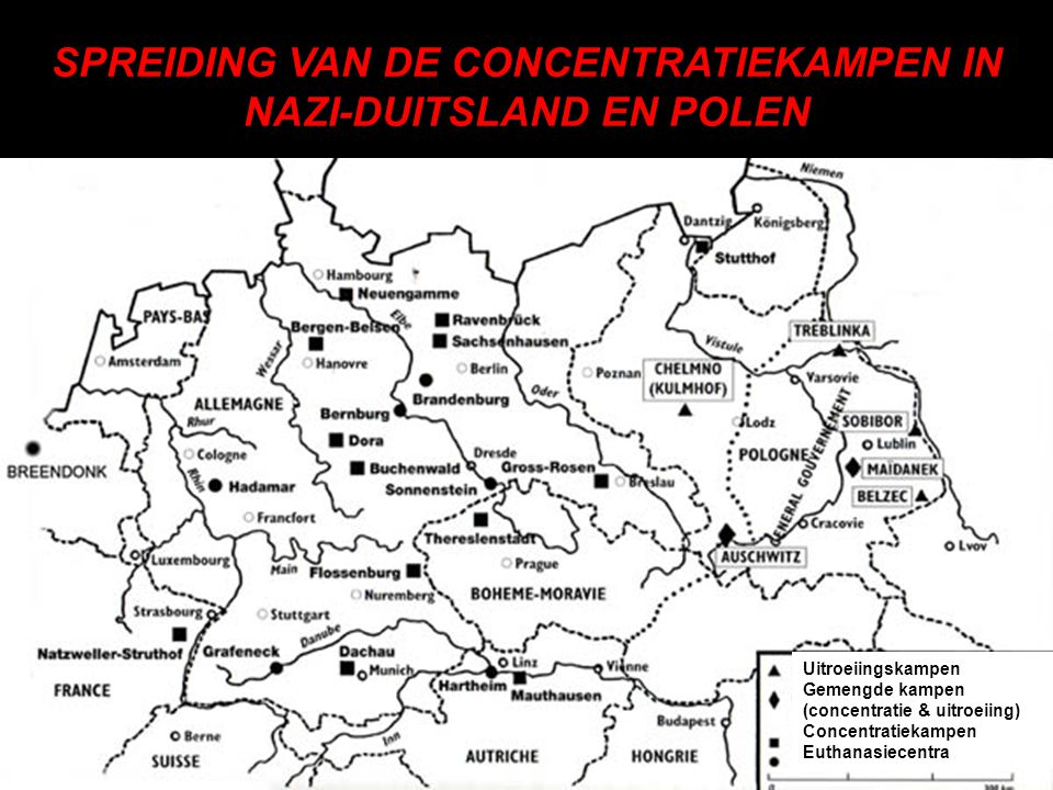 SPREIDING VAN DE CONCENTRATIEKAMPEN IN NAZI-DUITSLAND EN POLEN