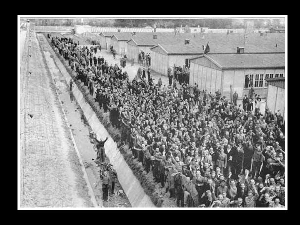 De gevangenen zongen de Joodse hymne op het ogenblik van hun bevrijding. (20 april 1945)