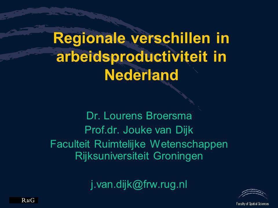 Regionale verschillen in arbeidsproductiviteit in Nederland