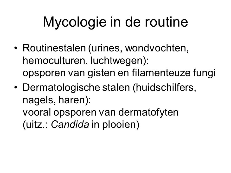Mycologie in de routine