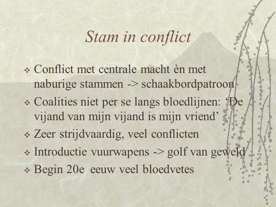 Stam in conflict Conflict met centrale macht èn met naburige stammen -> schaakbordpatroon.