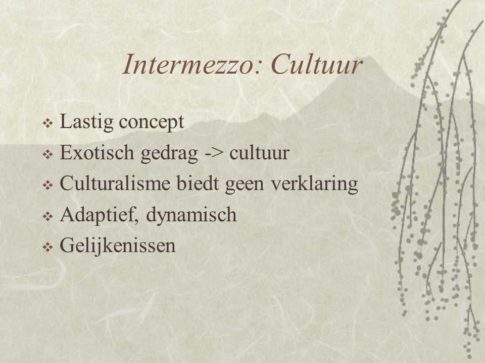 Intermezzo: Cultuur Lastig concept Exotisch gedrag -> cultuur