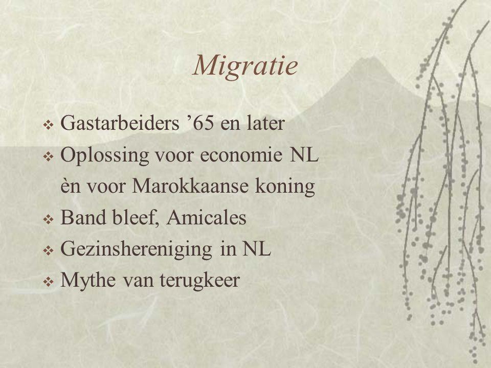 Migratie Gastarbeiders '65 en later Oplossing voor economie NL