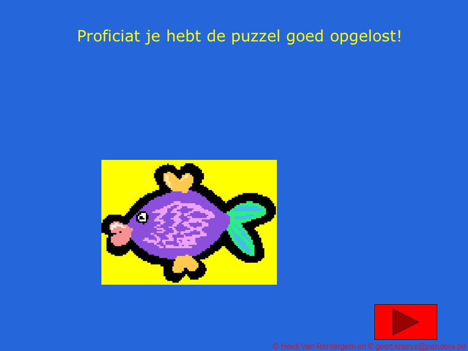 Proficiat je hebt de puzzel goed opgelost!