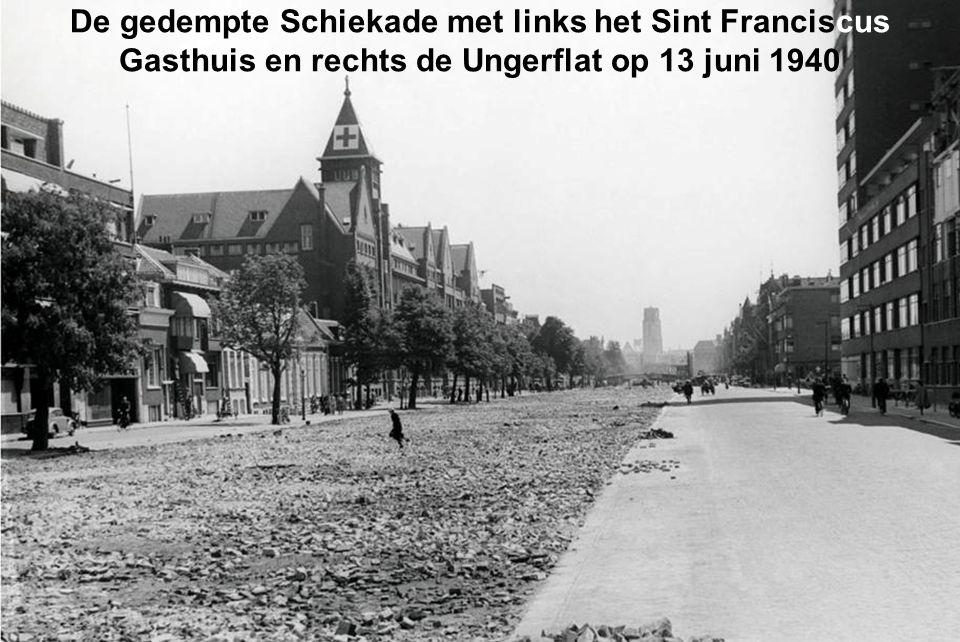 De gedempte Schiekade met links het Sint Franciscus Gasthuis en rechts de Ungerflat op 13 juni 1940