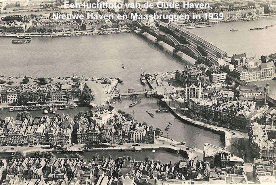 Een luchtfoto van de Oude Haven, Nieuwe Haven en Maasbruggen in 1939
