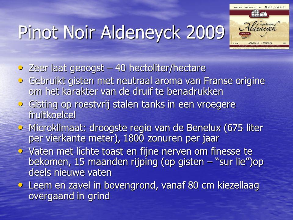 Pinot Noir Aldeneyck 2009 Zeer laat geoogst – 40 hectoliter/hectare