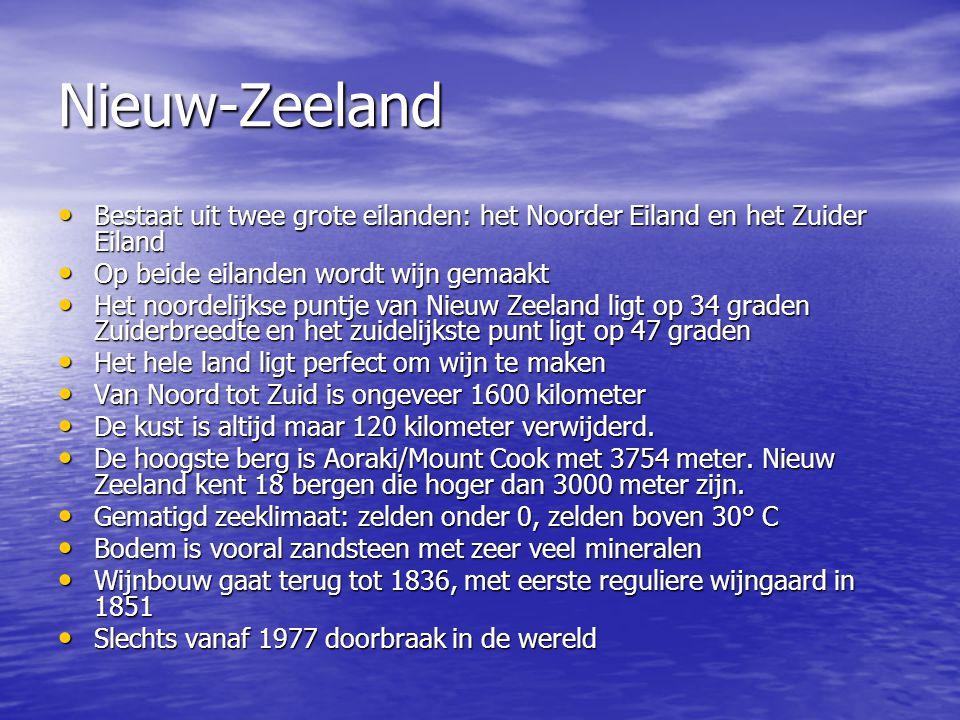 Nieuw-Zeeland Bestaat uit twee grote eilanden: het Noorder Eiland en het Zuider Eiland. Op beide eilanden wordt wijn gemaakt.