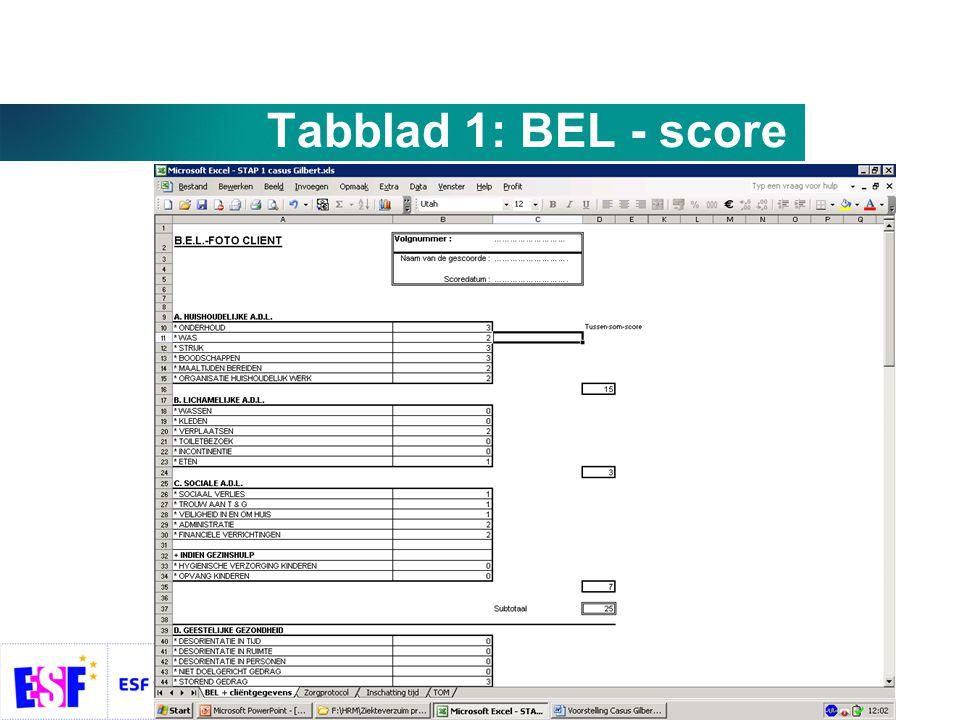 Tabblad 1: BEL - score
