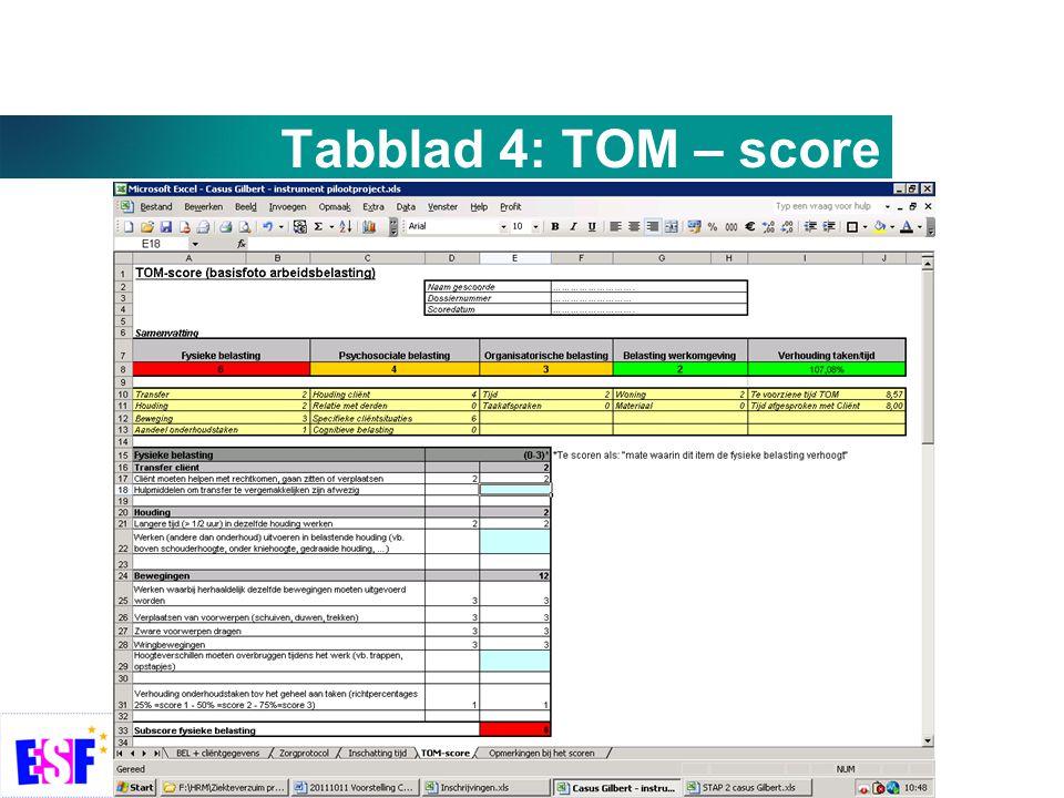Tabblad 4: TOM – score