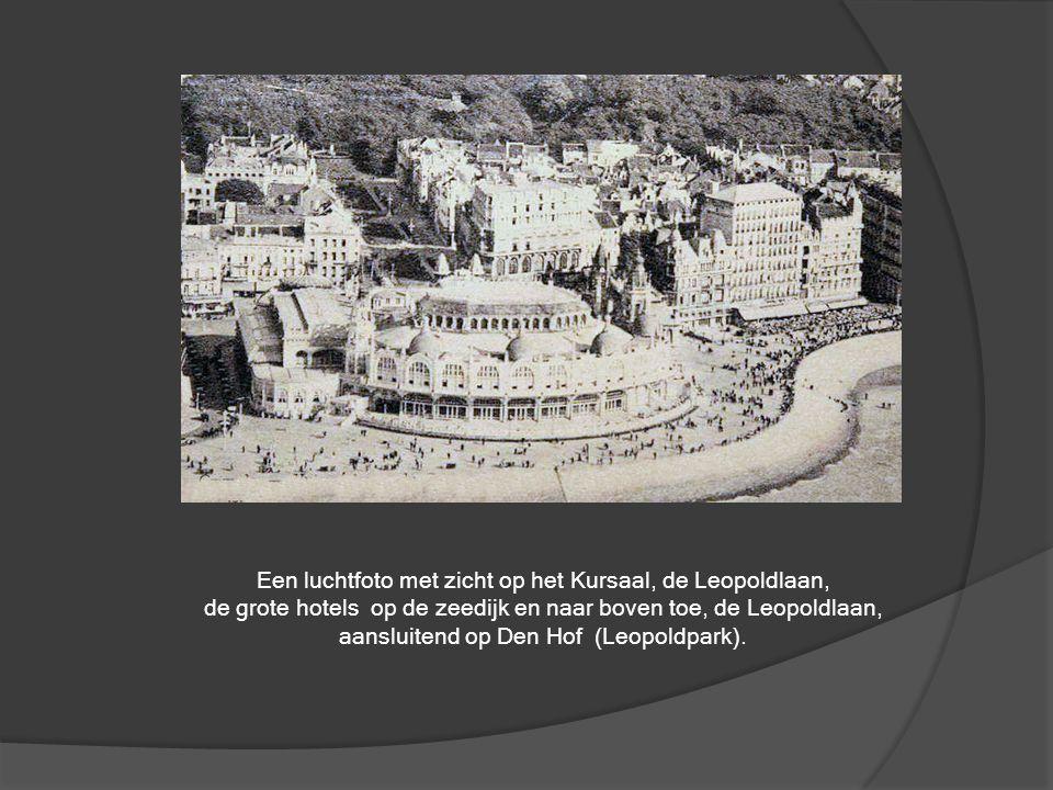 Een luchtfoto met zicht op het Kursaal, de Leopoldlaan,
