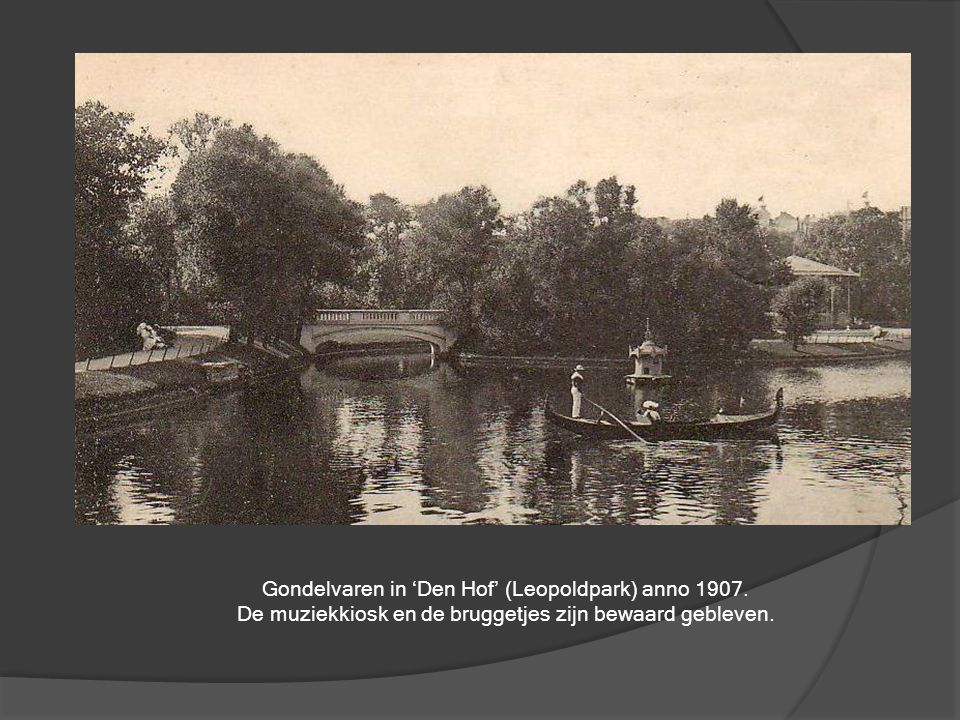 Gondelvaren in 'Den Hof' (Leopoldpark) anno 1907.