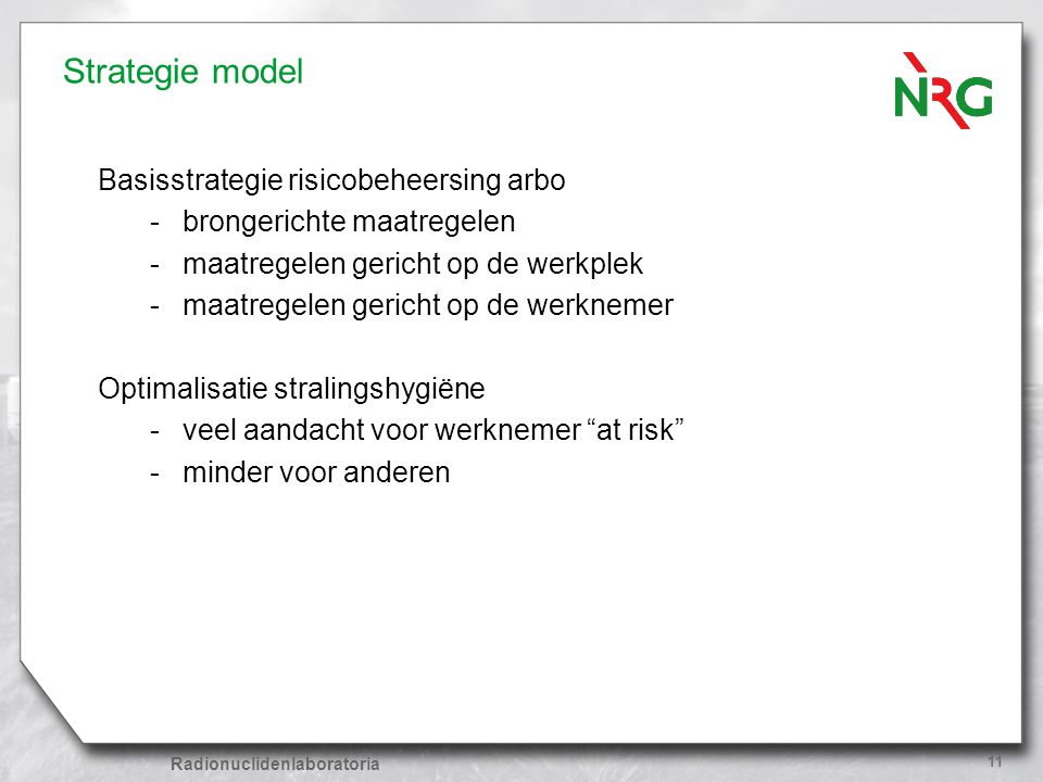 Strategie model Basisstrategie risicobeheersing arbo