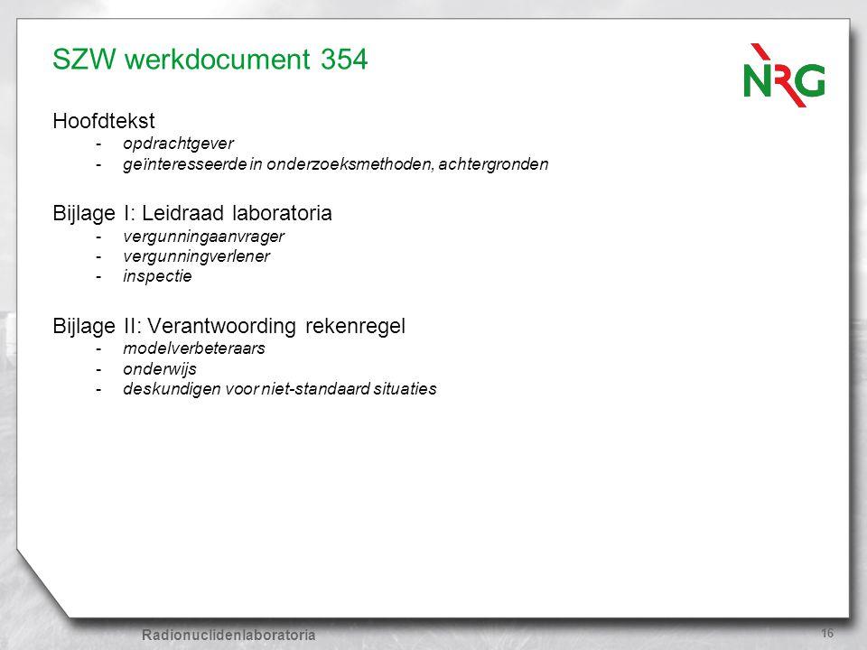 SZW werkdocument 354 Hoofdtekst Bijlage I: Leidraad laboratoria