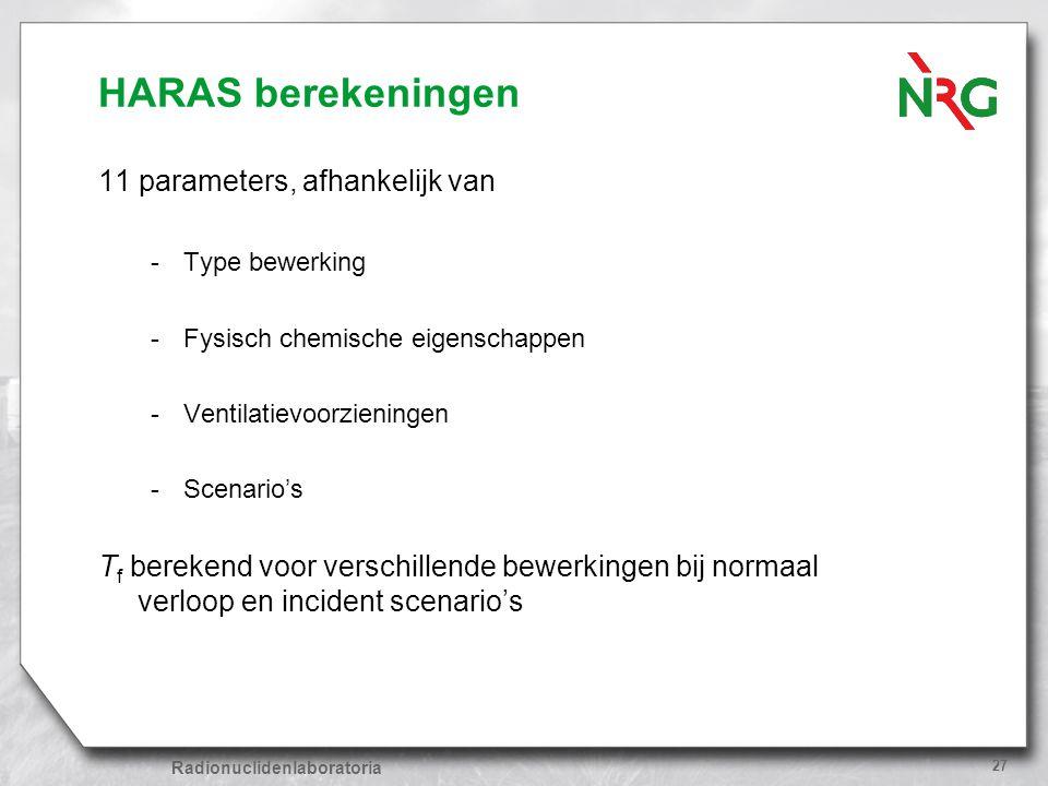 HARAS berekeningen 11 parameters, afhankelijk van