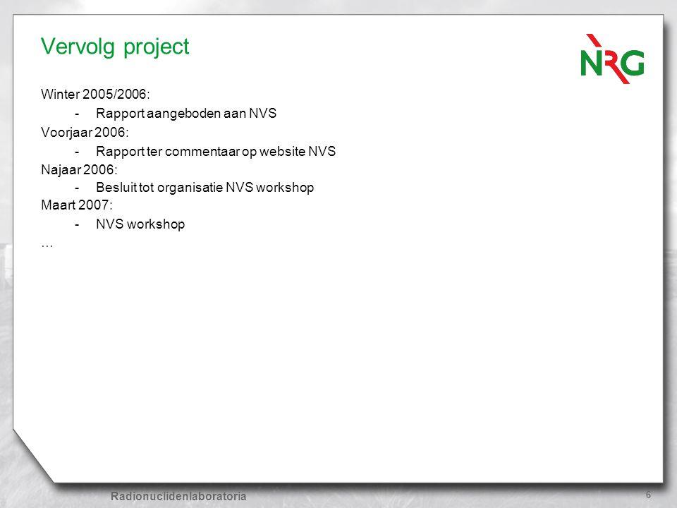 Vervolg project Winter 2005/2006: Rapport aangeboden aan NVS