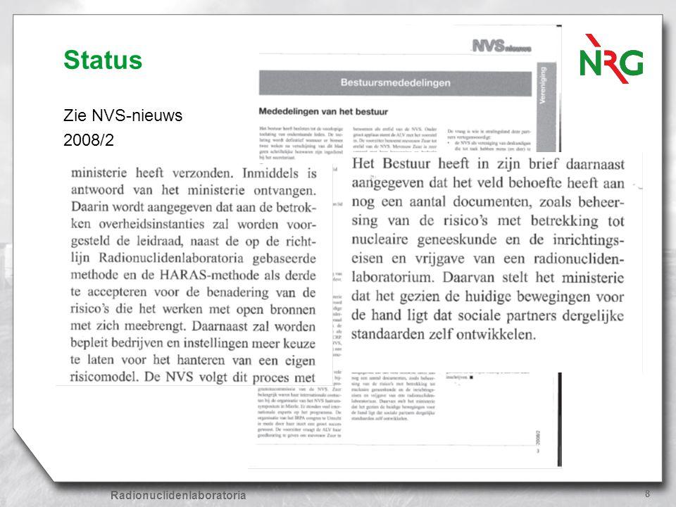 Status Zie NVS-nieuws 2008/2 Radionuclidenlaboratoria