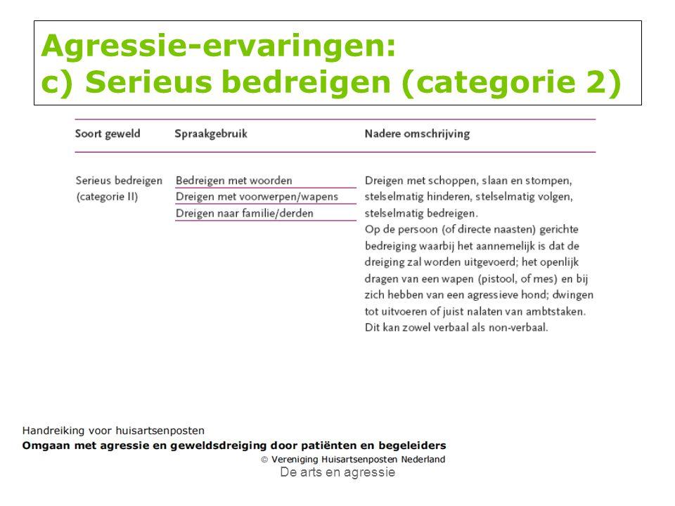 Agressie-ervaringen: c) Serieus bedreigen (categorie 2)