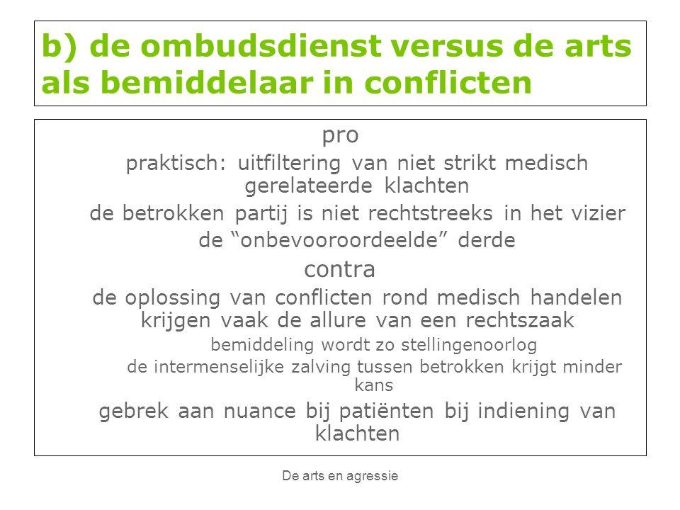 b) de ombudsdienst versus de arts als bemiddelaar in conflicten