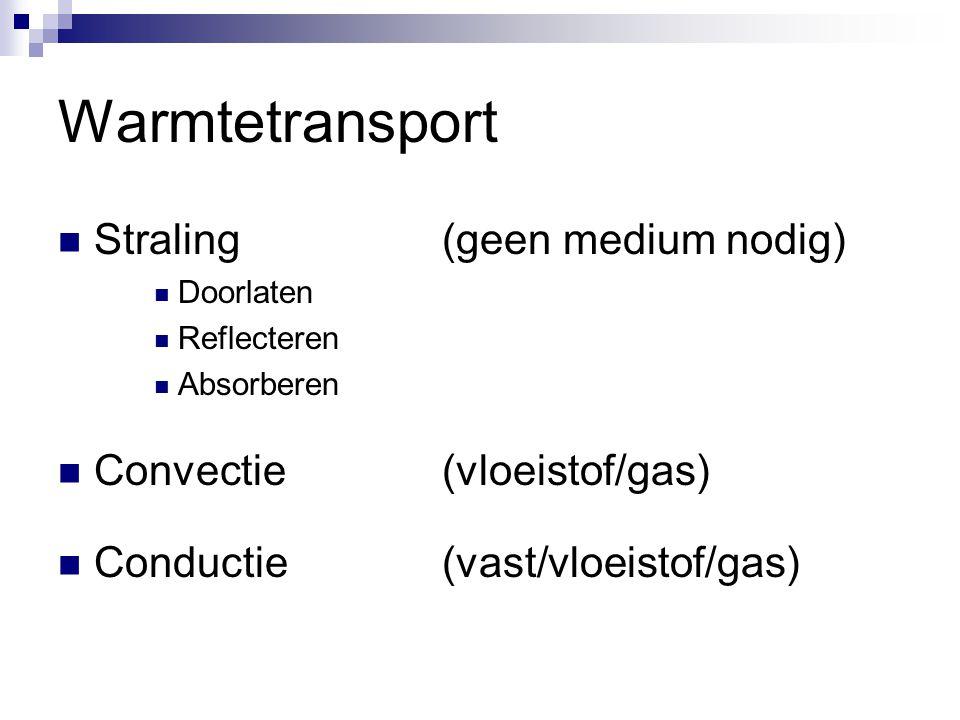 Warmtetransport Straling (geen medium nodig) Convectie (vloeistof/gas)