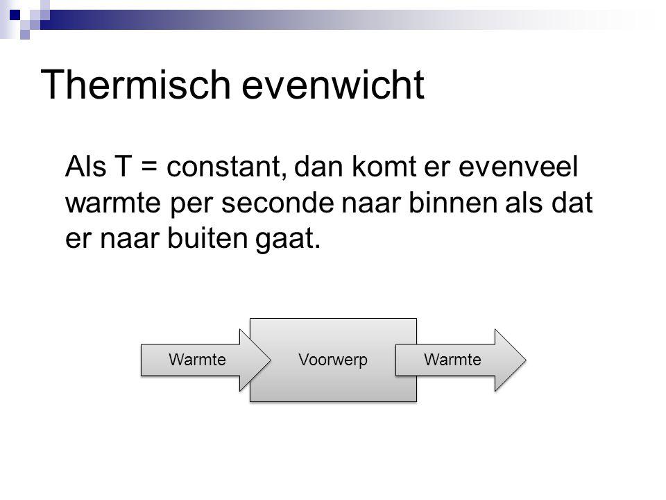 Thermisch evenwicht Als T = constant, dan komt er evenveel warmte per seconde naar binnen als dat er naar buiten gaat.