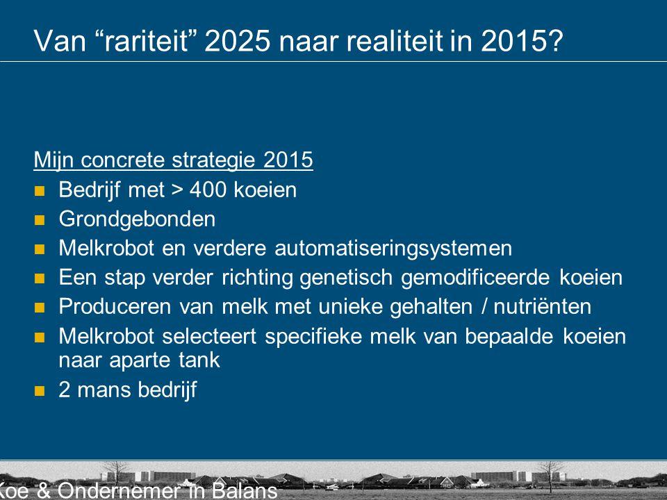 Van rariteit 2025 naar realiteit in 2015