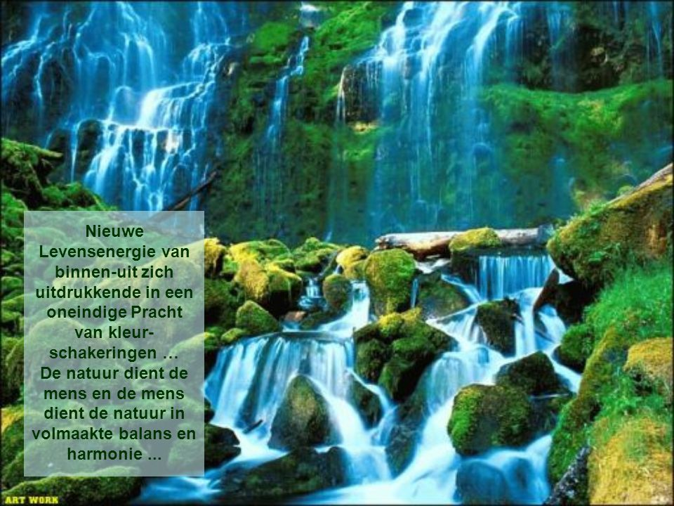 Nieuwe Levensenergie van binnen-uit zich uitdrukkende in een oneindige Pracht van kleur-schakeringen … De natuur dient de mens en de mens dient de natuur in volmaakte balans en harmonie ...