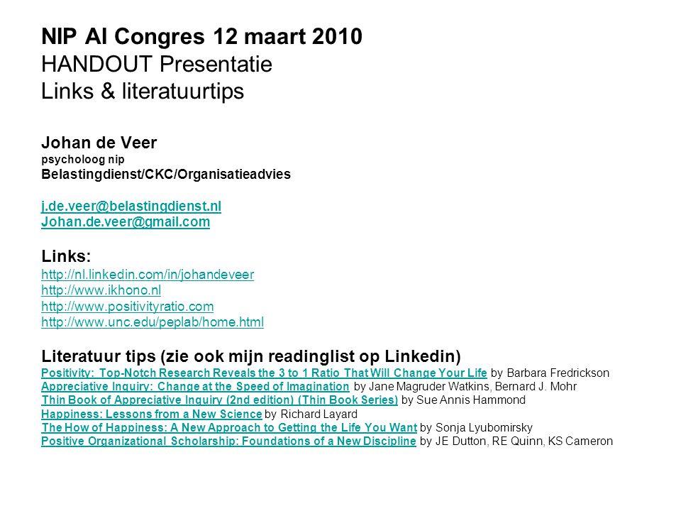 NIP AI Congres 12 maart 2010 HANDOUT Presentatie Links & literatuurtips