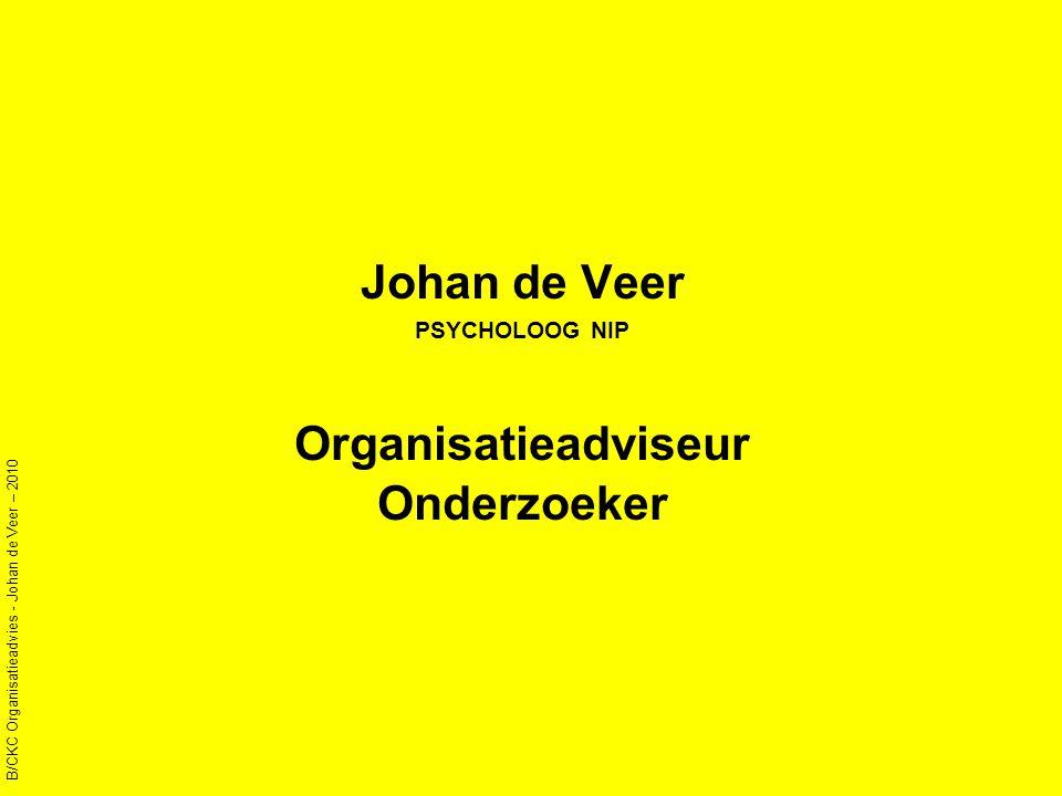 Johan de Veer PSYCHOLOOG NIP Organisatieadviseur Onderzoeker