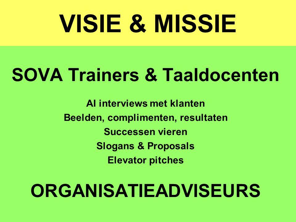 VISIE & MISSIE SOVA Trainers & Taaldocenten ORGANISATIEADVISEURS