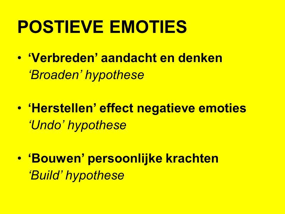 POSTIEVE EMOTIES 'Verbreden' aandacht en denken 'Broaden' hypothese