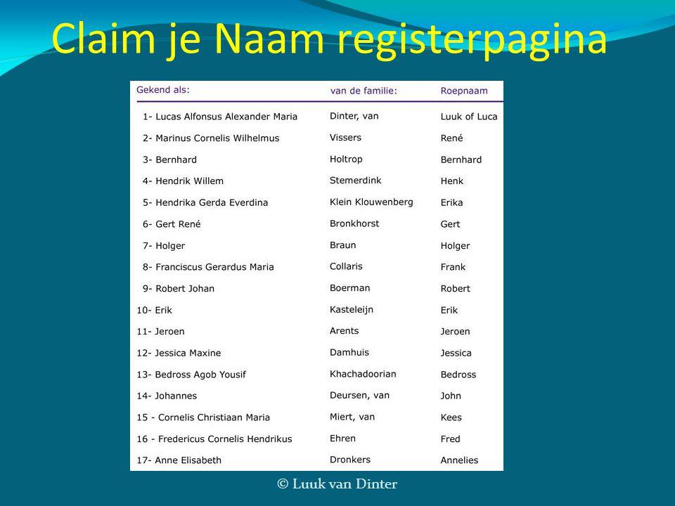 Claim je Naam registerpagina