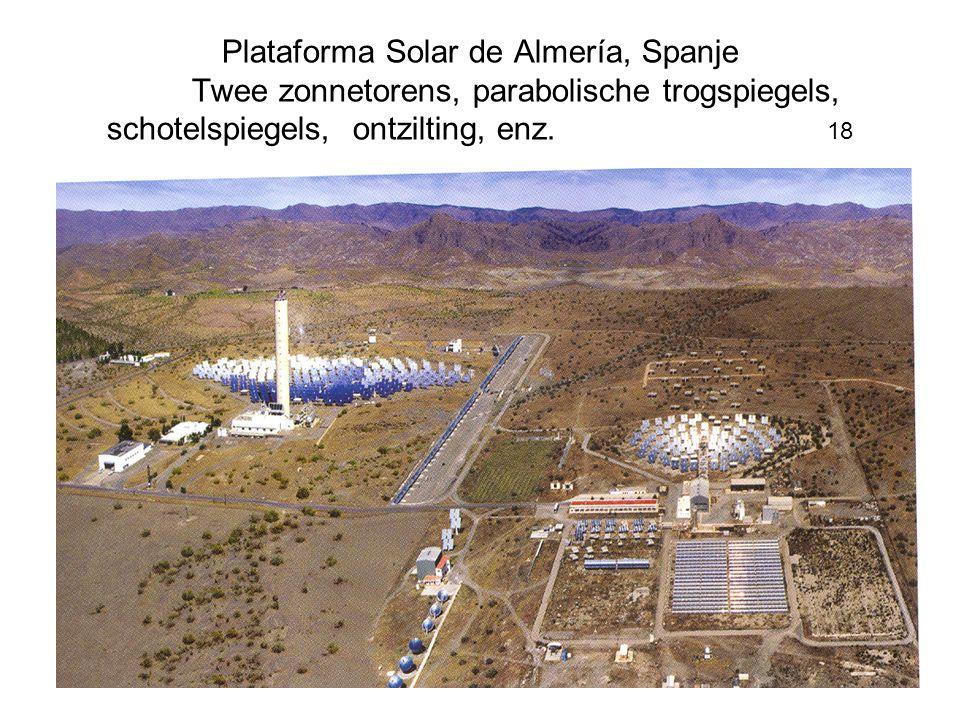 Plataforma Solar de Almería, Spanje Twee zonnetorens, parabolische trogspiegels, schotelspiegels, ontzilting, enz. 18