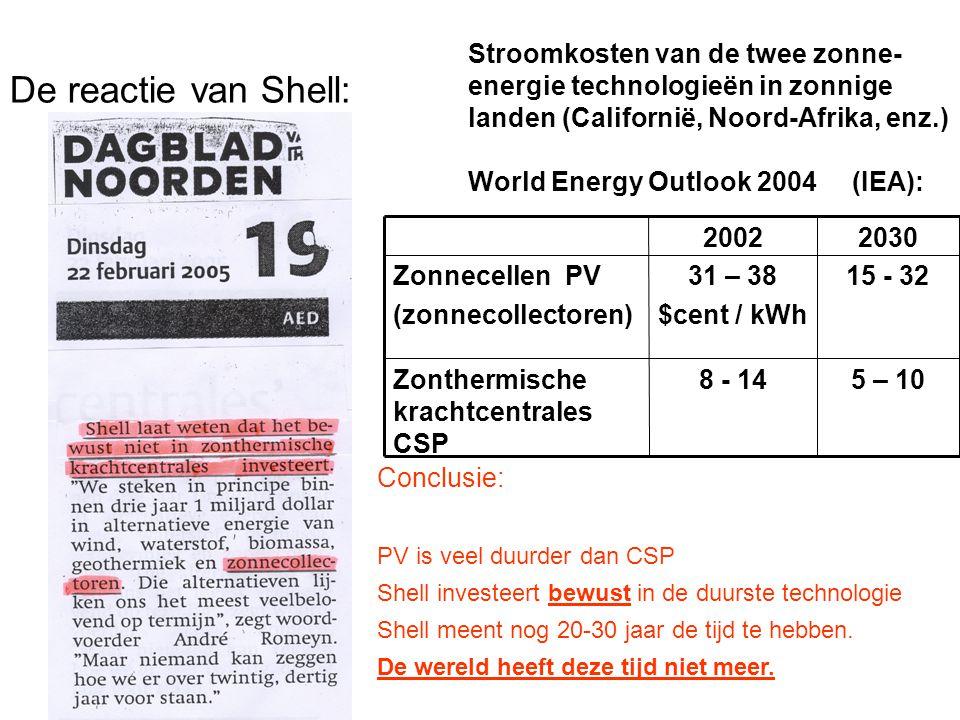 De reactie van Shell: 5 – 10 8 - 14 Zonthermische krachtcentrales CSP