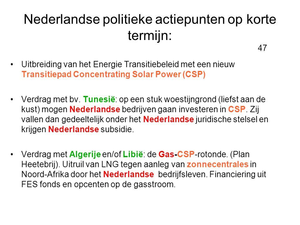 Nederlandse politieke actiepunten op korte termijn: 47