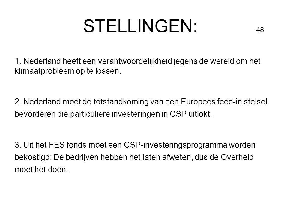 STELLINGEN: 48 1. Nederland heeft een verantwoordelijkheid jegens de wereld om het klimaatprobleem op te lossen.