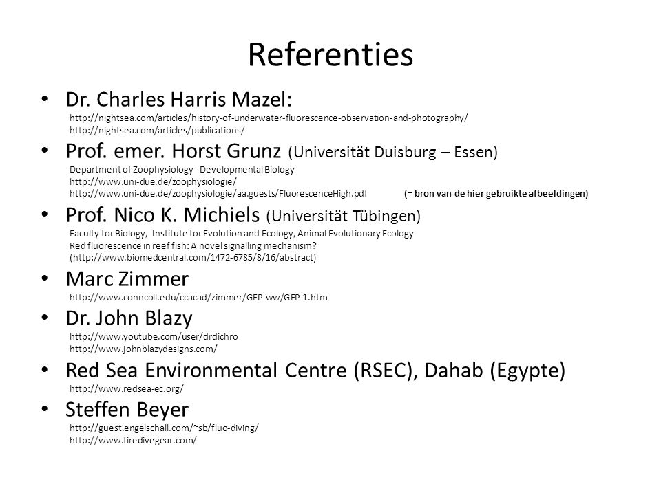 Referenties Dr. Charles Harris Mazel: