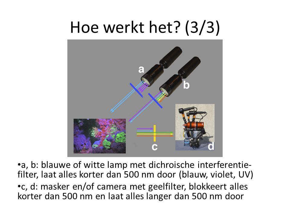 Hoe werkt het (3/3) a, b: blauwe of witte lamp met dichroische interferentie-filter, laat alles korter dan 500 nm door (blauw, violet, UV)
