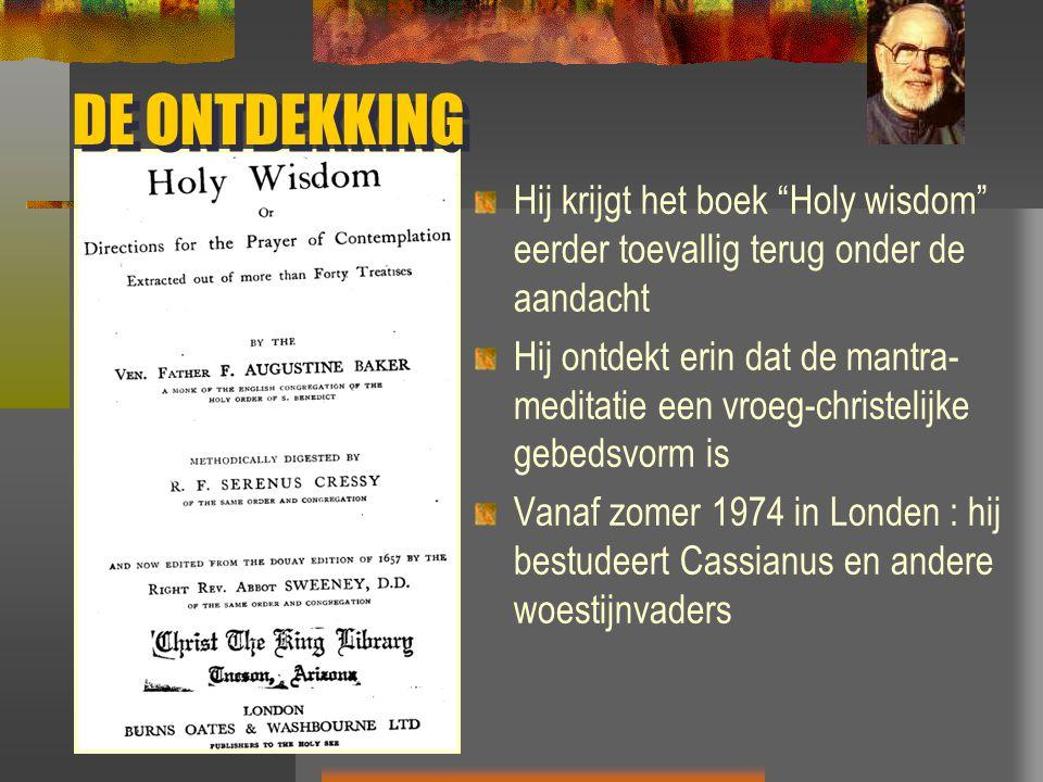 DE ONTDEKKING Hij krijgt het boek Holy wisdom eerder toevallig terug onder de aandacht.