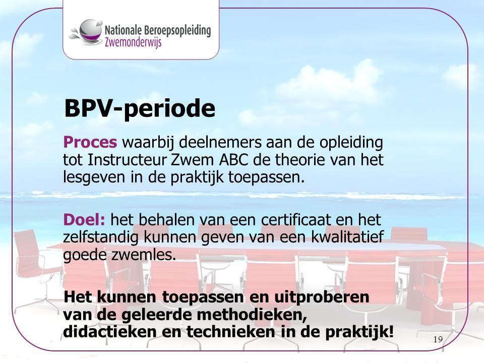 BPV-periode Proces waarbij deelnemers aan de opleiding tot Instructeur Zwem ABC de theorie van het lesgeven in de praktijk toepassen.