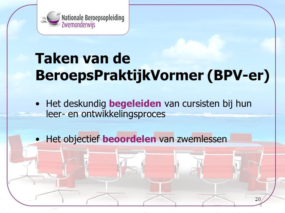 Taken van de BeroepsPraktijkVormer (BPV-er)