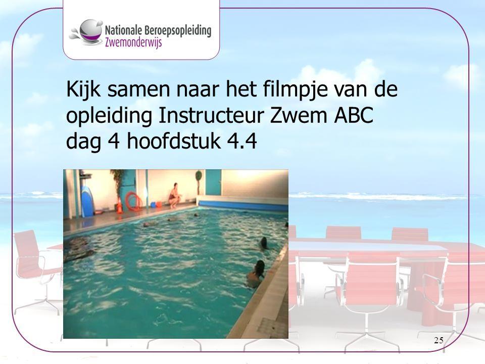 Kijk samen naar het filmpje van de opleiding Instructeur Zwem ABC dag 4 hoofdstuk 4.4