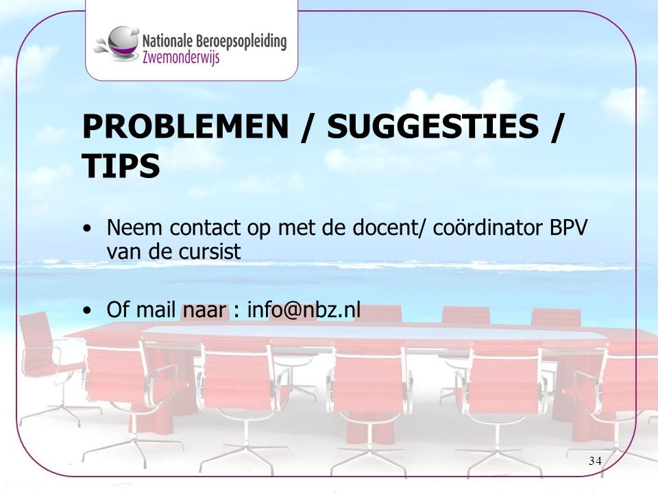 PROBLEMEN / SUGGESTIES / TIPS