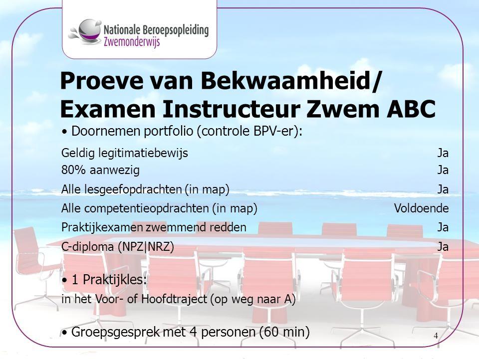 Proeve van Bekwaamheid/ Examen Instructeur Zwem ABC