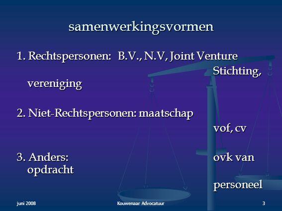 samenwerkingsvormen 1. Rechtspersonen: B.V., N.V, Joint Venture