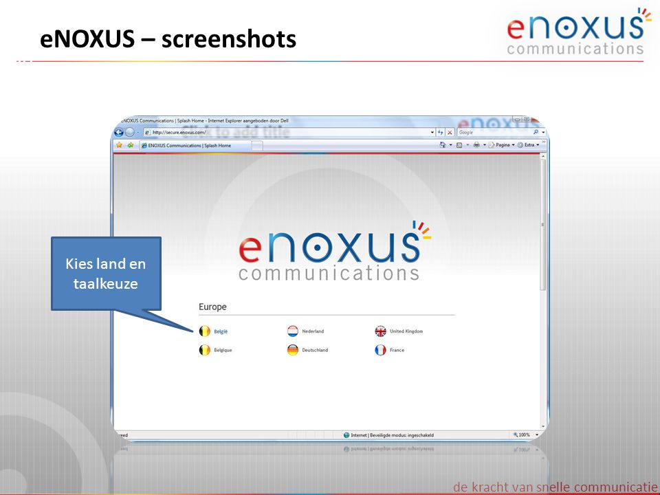 eNOXUS – screenshots Kies land en taalkeuze