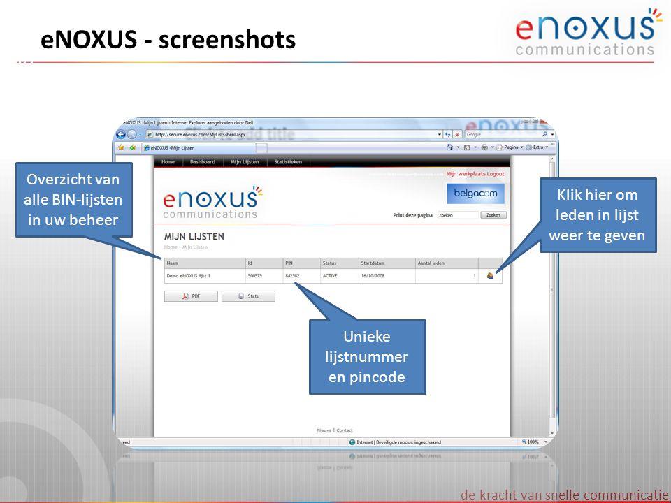 eNOXUS - screenshots Overzicht van alle BIN-lijsten in uw beheer