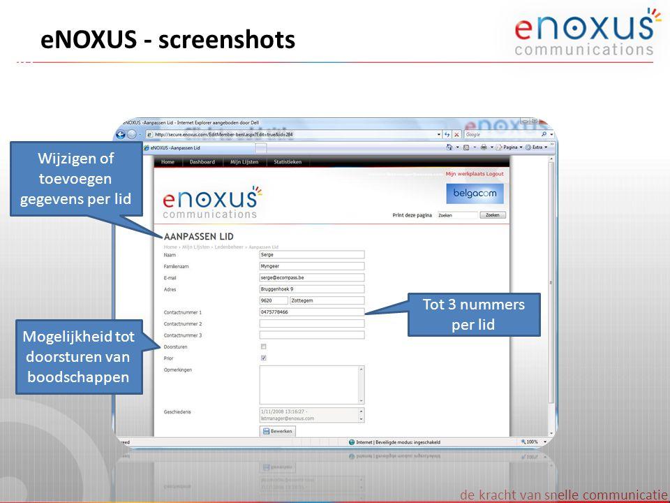 eNOXUS - screenshots Wijzigen of toevoegen gegevens per lid